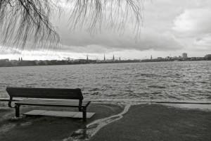Hamburg Außenalster bei der Alsterperle