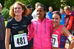 v.l.n.r. Alina Reh, Fate Tola Geleto, Sabrina Mockenhaupt - Leichtathletik (3.,1.,2. - DM 10km Straßenlauf 2015)